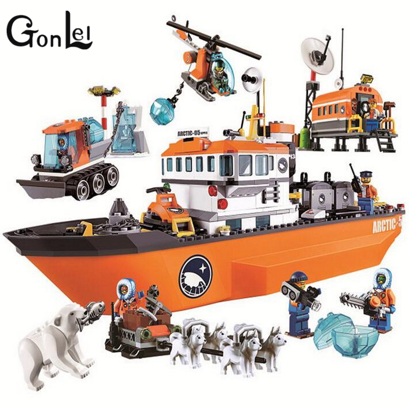 GonLeI Bela 10443 City Arctic Icebreaker Blocks Brick Toys Set Boy Game Team Castle Compatible with Decool Lepin 60062 kids toy bela 10443 city arctic icebreaker building bricks blocks toys for children game team castle compatible with decool lepin 0062