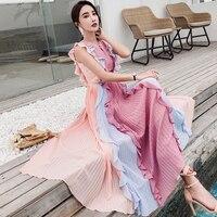 2019 Summer Chiffon Ruffles Pleated Dress Rainbow Color Matching Long Maxi Dress Women Clothes Elegant Tank Dress TA7802