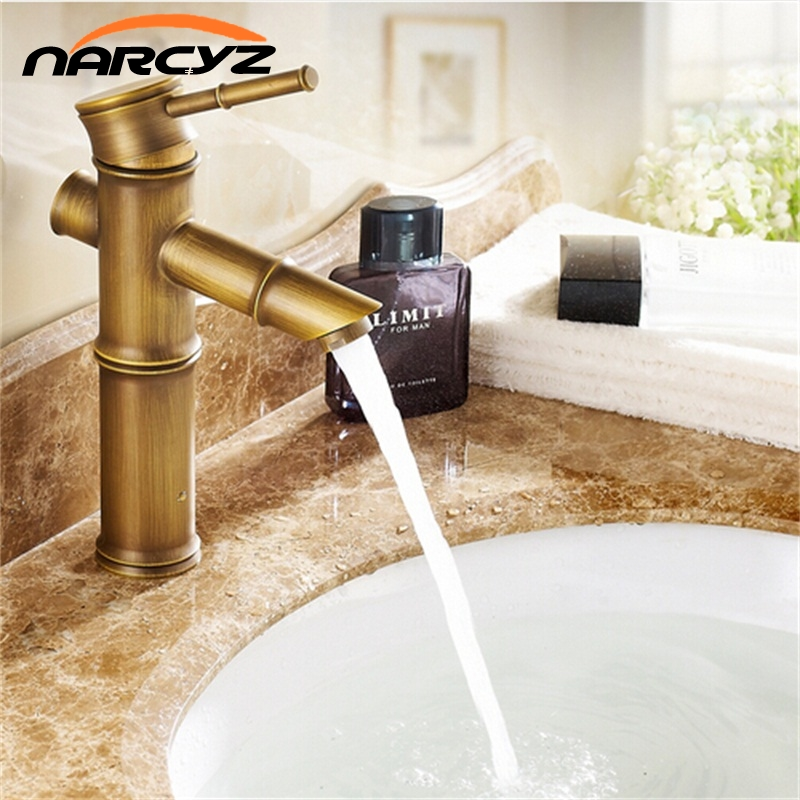 Bathroom bamboo shape faucet Basin Mixer Taps Antique Brass Finished Hot Cold Mixer Taps Deck Mounted