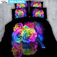 Regenbogen farbige rose blume bettwäsche set 3 stück 3d gedruckt high heels vögel quilt/bettbezug einzigen voll king größe tagesdecken kind