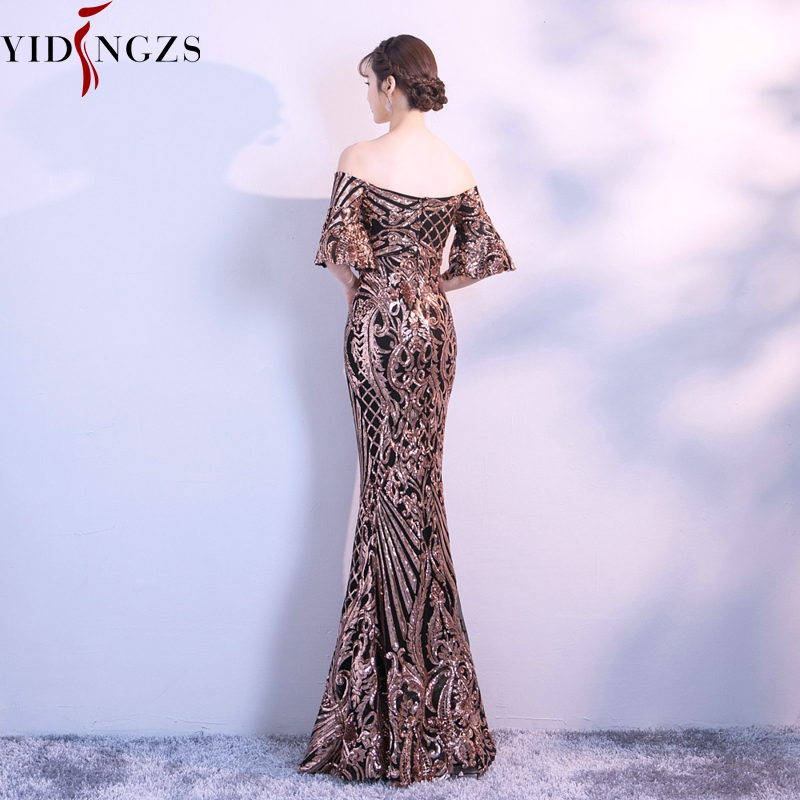 Image 3 - YIDINGZS New Flare Sleeve Black Gold Heavy Sequins Evening Dress 2019 Boat Neck Formal Evening Party Dress YD260-in Evening Dresses from Weddings & Events