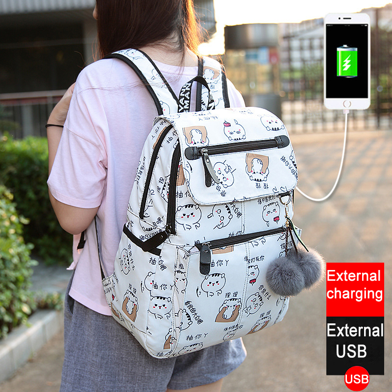2018 nuevas mujeres Emoji ocio mejor viaje mochila impresión femenina impermeable mochila escolar mochila paquete