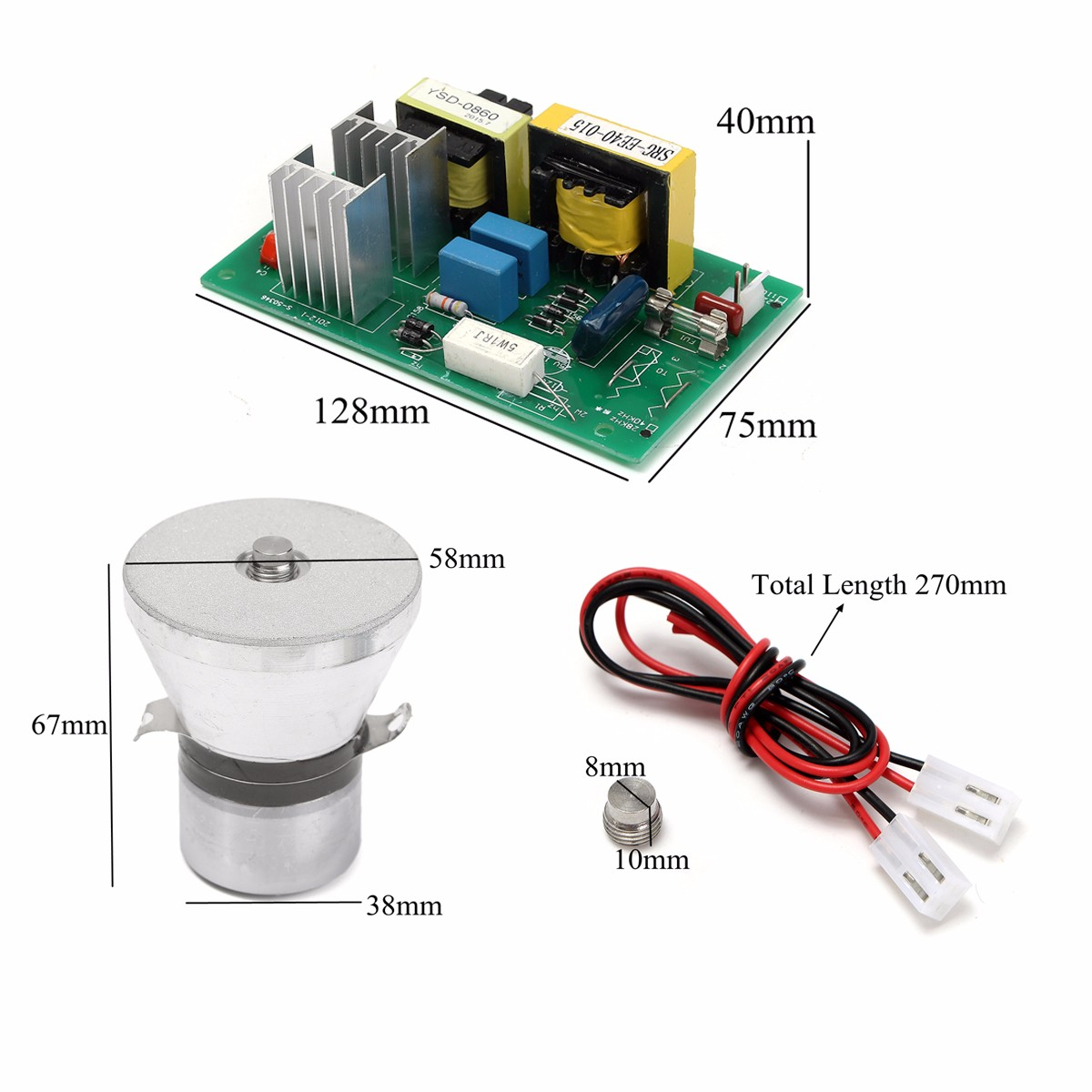 Ultrasonic Cleaner Parts 100W 28KHz Ultrasonic Cleaning Transducer Cleaner +Power Driver Board 220VAC