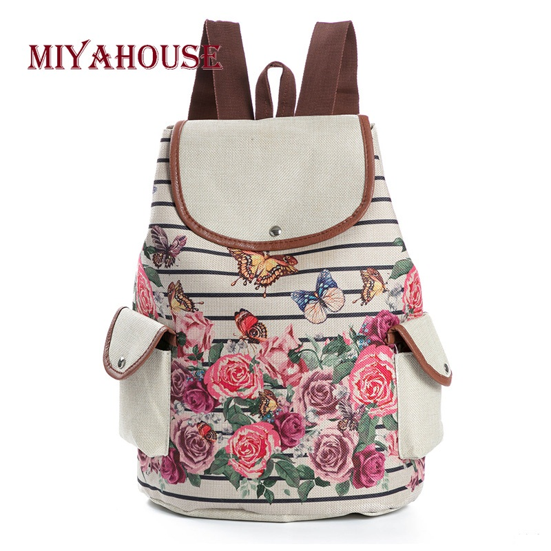Miyahouse Retro Floral Printed Canvas Backpack For Teenagers Striped Butterfly Design School Bags Girls Travel Rucksack