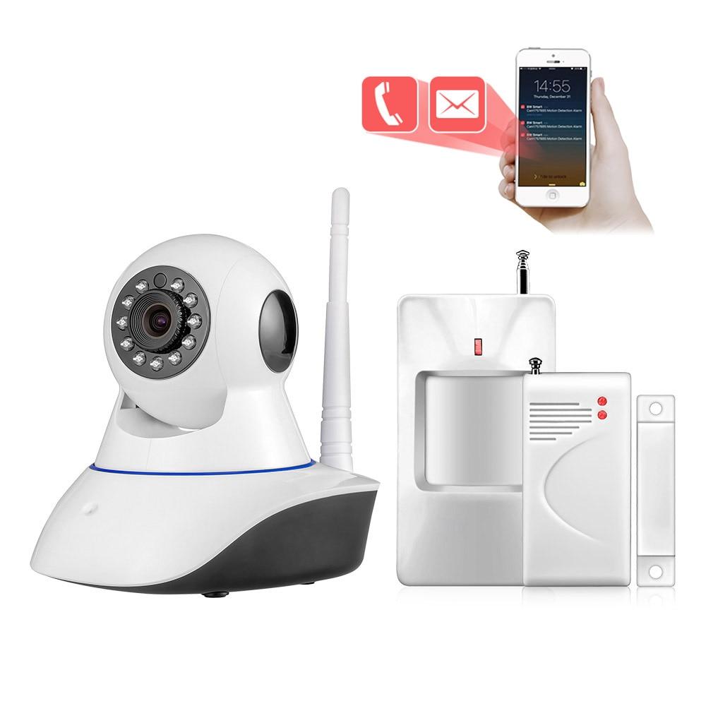купить New WiFi IP Camera Megapixel HD 720P IR Infrared Night Vision Security APP Alarm System Wireless PIR Motion Detector Door Sensor по цене 2948.37 рублей