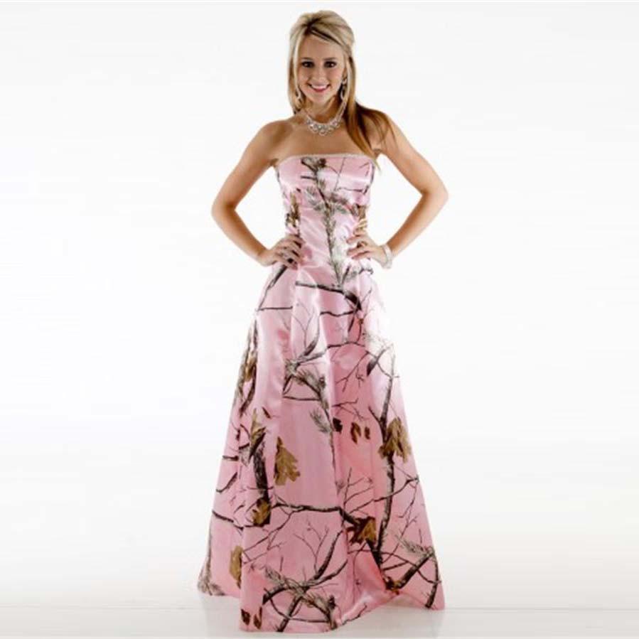 7dc89f5f8972 2016 Camo Bridesmaid Dresses Pink Strapless Pattern Vestido De Festa ...