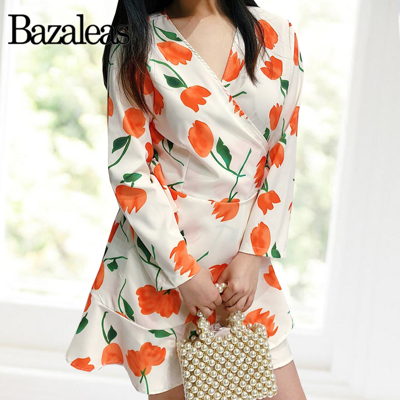 Ruffle Trim Tie Waist Dress Fashion Mini Dress Plunging Wrap Dresses Flora Print Dress