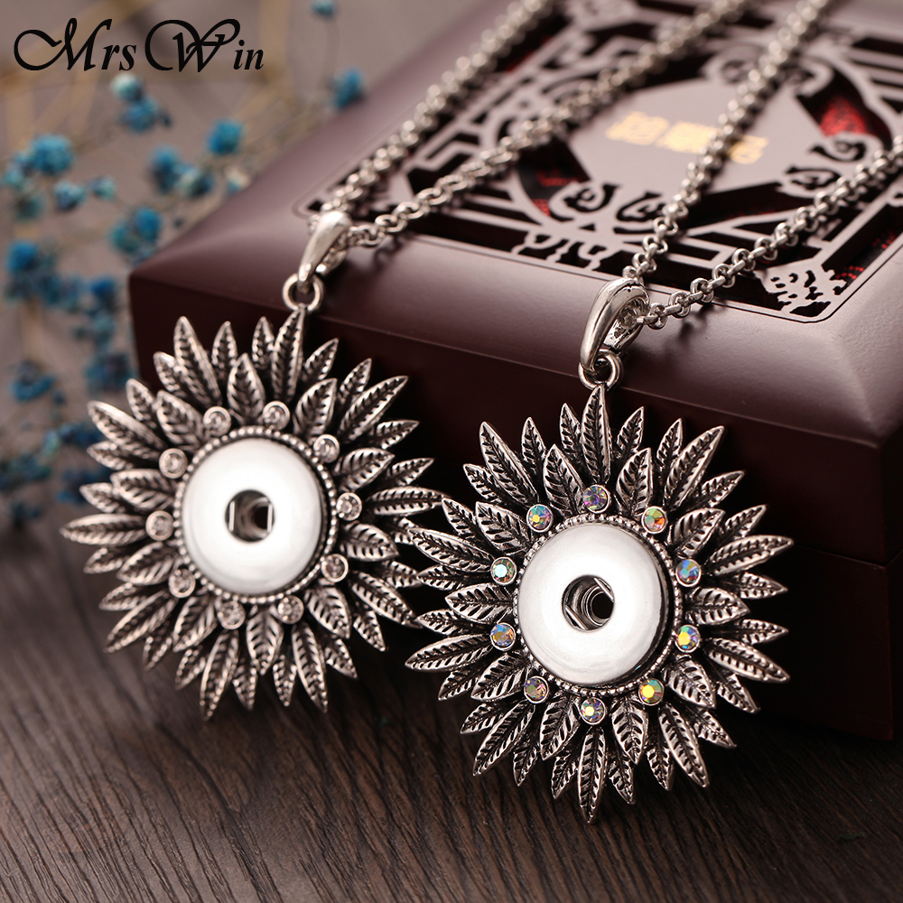 New Flower Snap Button Necklace with Chians Vintage Metal Snap Pendant Necklace fit 18mm 20mm Snap Button Jewelry For Women snap button jewelry