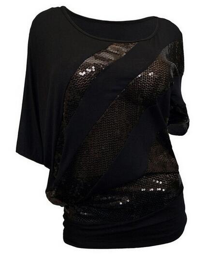Tops pomlad 2019 nova modna seksi rokava majica z izrezom O-vratu s - Ženska oblačila - Fotografija 5
