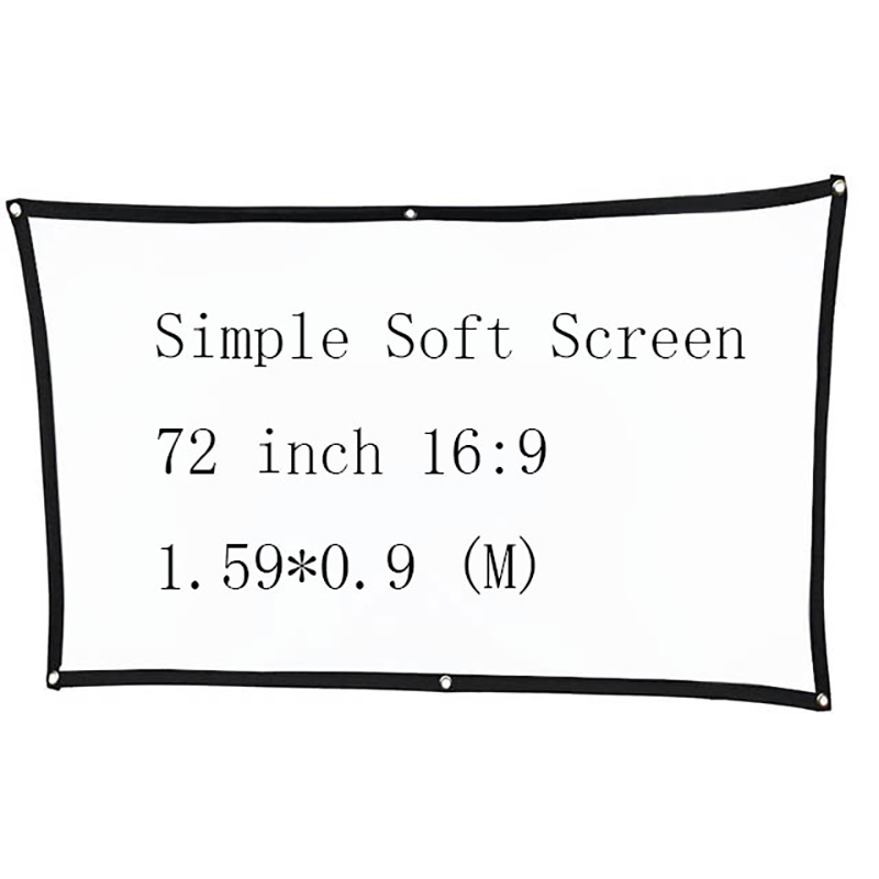 Thinyou 72 inch 16:9 Simple Soft Projector Screen Outdoor Canvas Matt White Portable 3D HD Home Theater Wall mounted