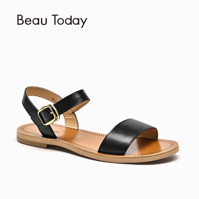 BeauToday Flat Sandals Women Brand Genuine Cow Leather Slingback Buckle Strap Good Quality Summer Shoes Handmade 32040