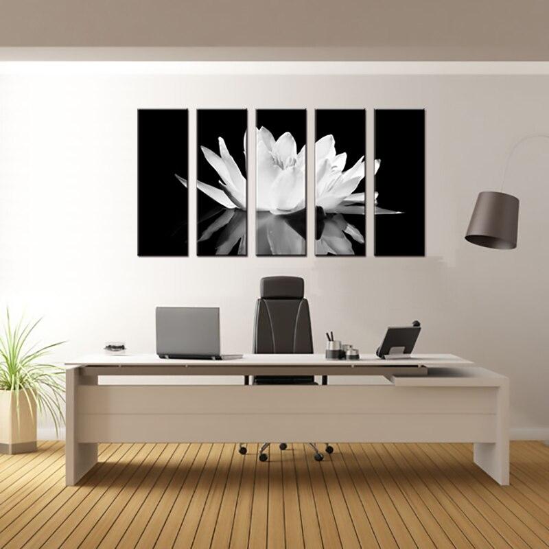 Pcs set flower white lotus in black wall art modern black and white