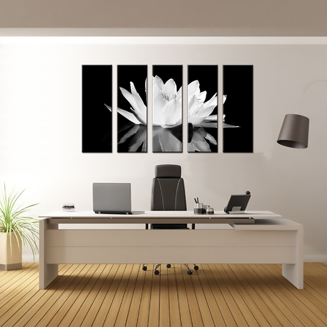 5 pcs set flower white lotus in black wall art modern black and white flower
