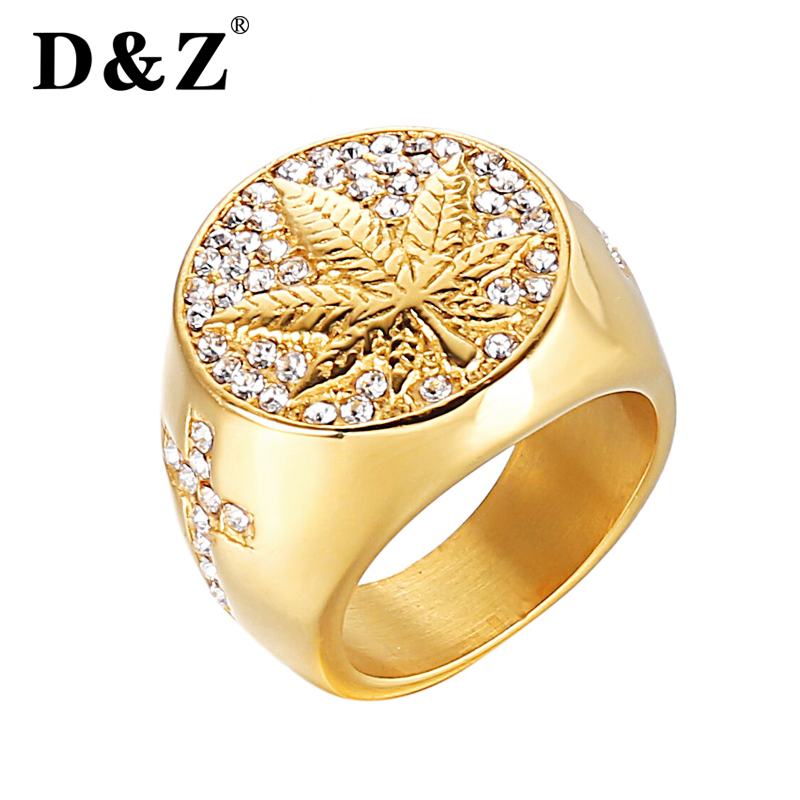 все цены на D&Z Rapper Weed Maple leaf Ring Men Gold Color 316L Stainless Steel Micro Pave Rhinestone Canadian Leaf Rings Male Rock Jewelry