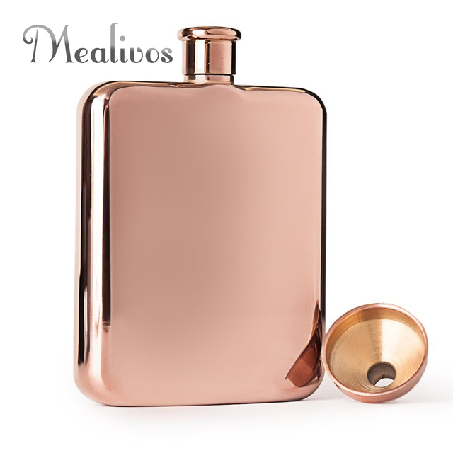 Mealivos Rose gold 6 oz 304 Stainless Steel vodka Hip Flask Alcohol Liquor Whiskey bottle gifts box wine pot drinkware