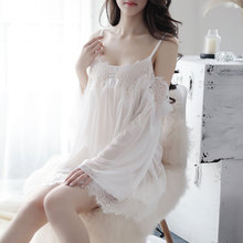Sexy Lingerie Sling Off-the-shoulder Pajamas Perspective Mesh Gauze Lace Nightdress Set