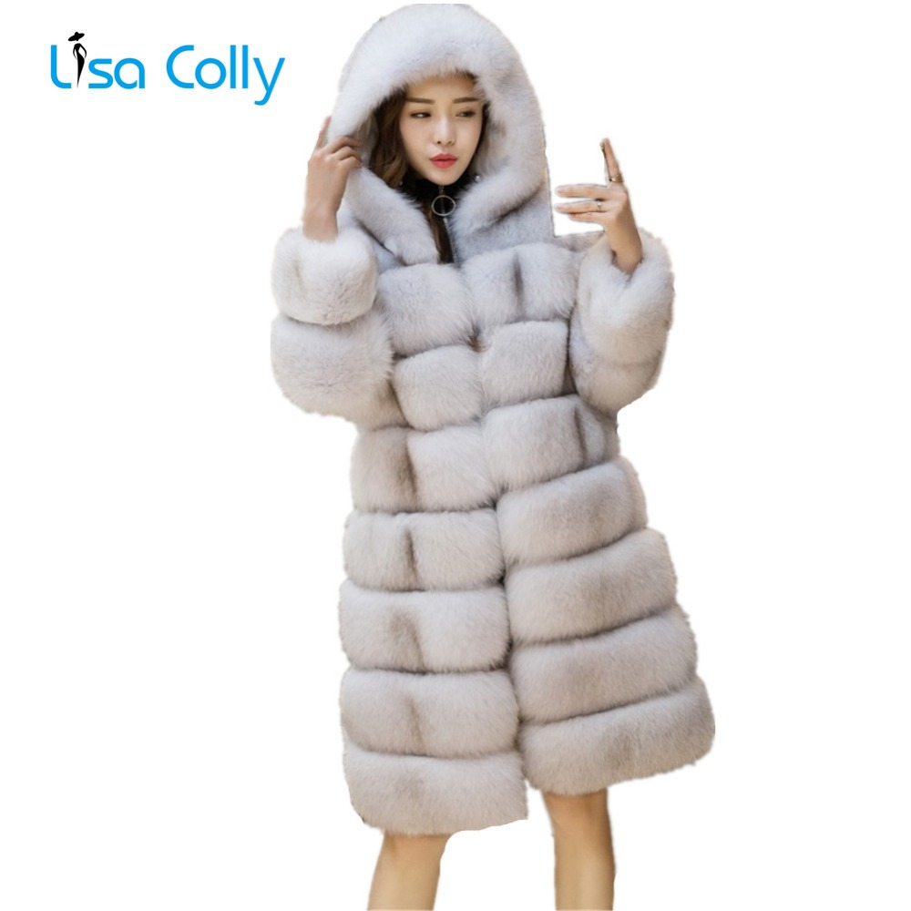 Lisa Colly Women Faux Fur Coat jacket Long Fox Winter Artifical Overcoat With Hooded Thick