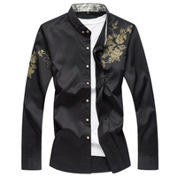 7XL Mens Clothing Flower Print Shirts Mens Chinese Collar Luxury Camisa Slim Fit Social Club Outfits