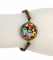 Folk Art Rooster Cuff Bracelet Glass Cuff Bracelet Alloy Leather Chain Bangle Handmade Glass Jewelry Wholesale