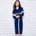 Adohon 2016 para mujer de invierno de la Cachemira suéter y vestido de las mujeres Calientes de la Alta Calidad Calientes de espesamiento Femenino Carta Recta Hasta La Rodilla