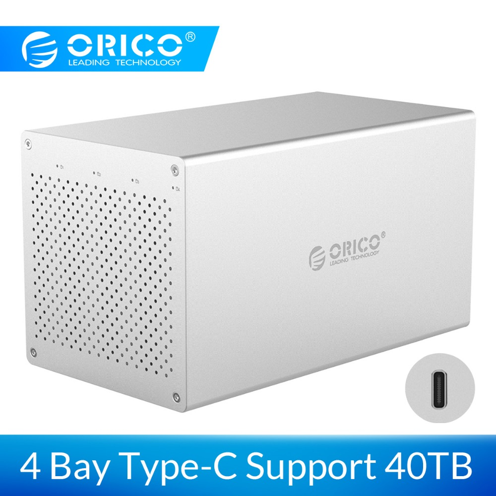 ORICO 4 Bay SATA To USB C Hard Drive Enclosure Aluminum Alloy Support 40TB Storage 5Gbps With 12V Adapter Type-C HDD Case
