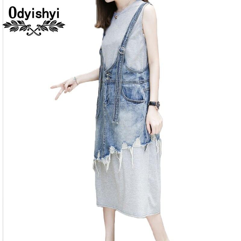 vestidos Spring denim dress Women 2019 new Hot beveled tassel jeans strap dress Long gray vest