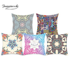 Fuwatacchi Regular Geometry Cushion Covers Color Printing Pillow Cases Cotton For Car Home Sofa Decoration