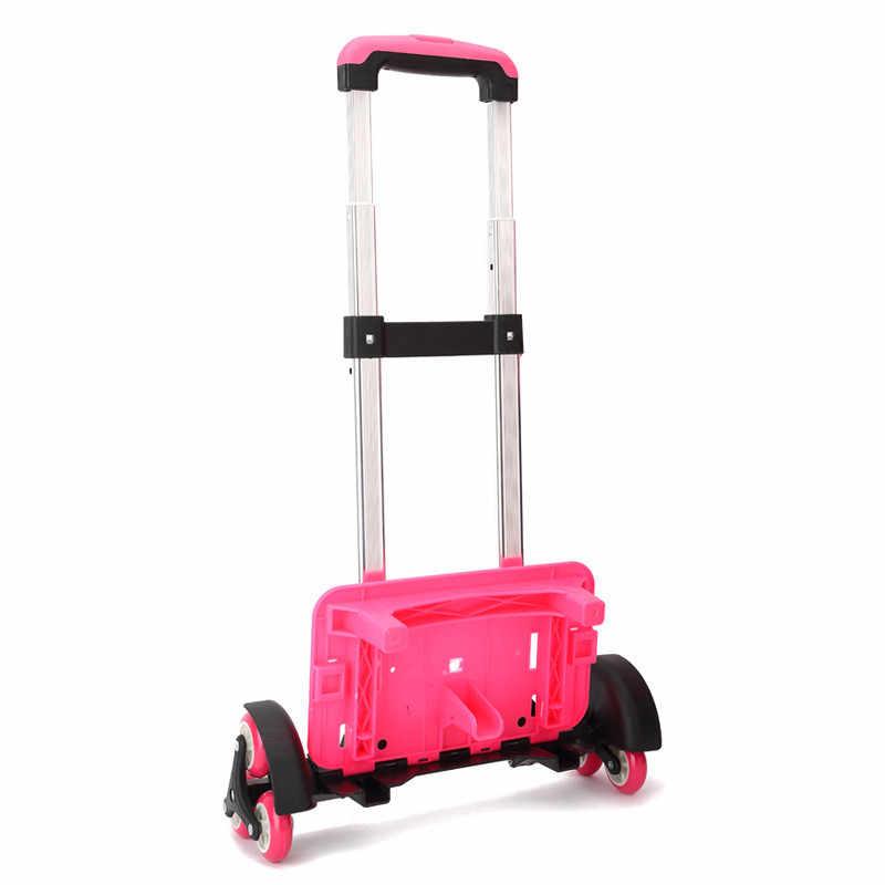 Дети 2/6 колеса расширяемый стержень алюминиевого сплава тяги кронштейн рулоновоз Детская сумка на колесах для рюкзака и школы Сумка багажная сумка