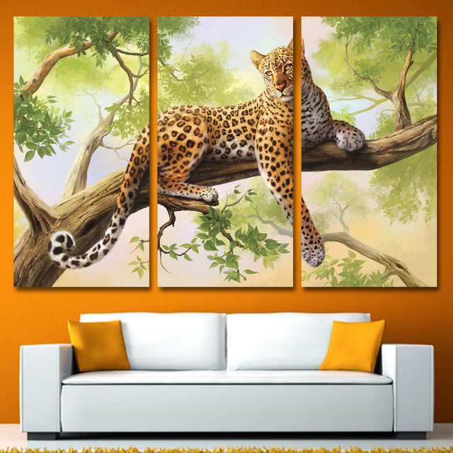 Aliexpress.com : Buy 3 Panels Canvas Art Spots Leopard Lie on Tree ...
