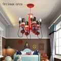 Американская креативная Защитная Люстра для мальчиков  спальни  детская комната  освещение  мультяшная личность  солдатская светодиодная л...