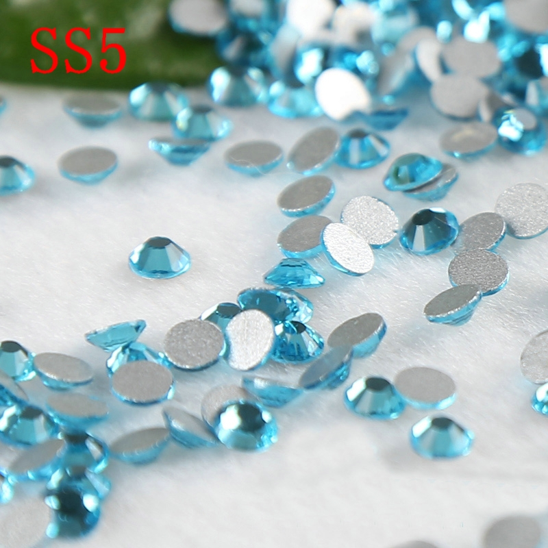 Lake blue SS5 1440pcs nail art rhinestones nail sticker decoration accessaries strass non hot fix rhinestones for nails