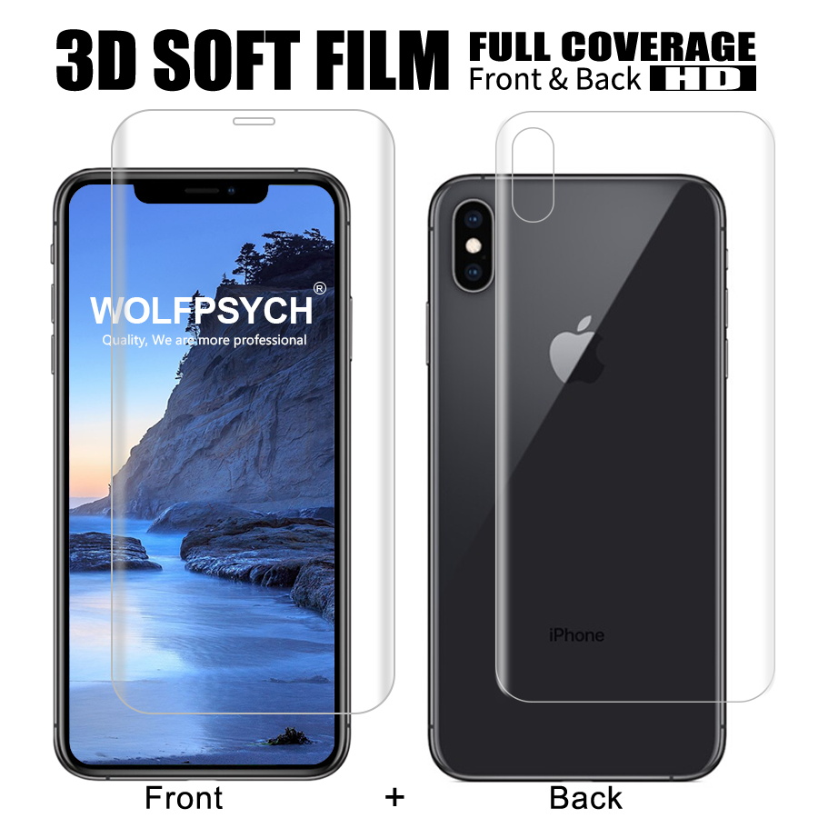 WOLFPSYCH Front + Back Soft Film For iPhone 6 6s 7 8 Plus Screen Full Cover Protector For X Xs Max Xr Silicone Hydrogel StickerWOLFPSYCH Front + Back Soft Film For iPhone 6 6s 7 8 Plus Screen Full Cover Protector For X Xs Max Xr Silicone Hydrogel Sticker
