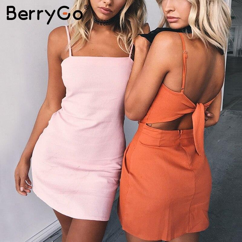 BerryGo Bogen casual leinen sexy kleid Backless 2018 strand sommer kleid frauen sommerkleid Slim fit bodycon weiße kurze kleid vestidos