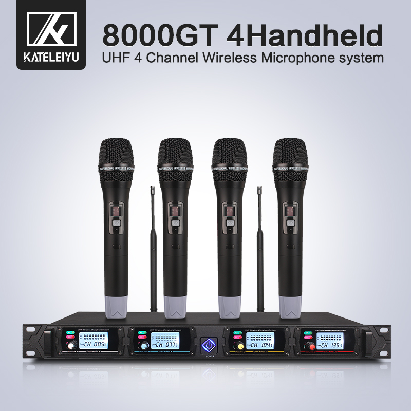 Wireless Microphone System 8000GT Professional UHF Channel Dynamic Microphone Professional 4 Karaoke Microphone Stage Microphone