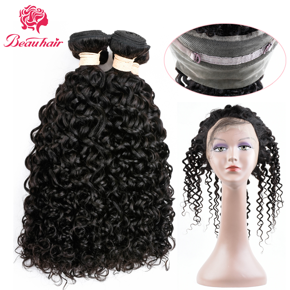 Beau Hair Water Wave Hair 4 Bundles With Closure Peruvian Hair Bundles Human Hair Weave 360 Lace Frontal Closure With Bundles