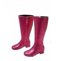 Newest Bling Bling Glitter Knee High Boots Thick Heel Round Toe Women Long Boots Side Zipper Winter Boots Silver Gold Boots