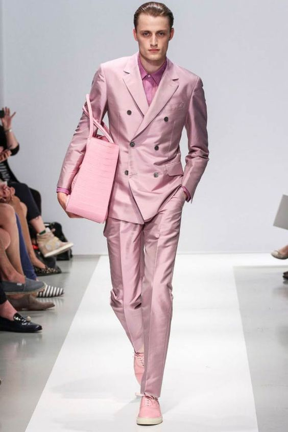 Stlylish Pink Men's Party Prom Suits 2017 Bespoke Double Breasted ...
