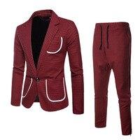 Mens Casual Plaid Blazer+Pants Two piece Set   2018 Autumn Brand New Male Slim Fit Formal Suit Blazer Man Party/Wedding Blazer