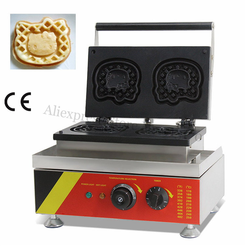 Commercial Waffle Machine Stainless Steel Cartoon Kitty Cat Shaped Waffle Maker 4 pcs Moulds 220V 110V|Waffle Makers| |  - title=