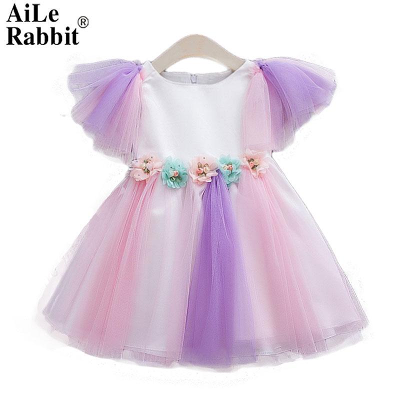 Aile Rabbit 2018 Dress for Girl Baby Clothes Bebe Elegant Dress Children Dresses Rainbow Veil Dream Party Birthday Wedding Dress