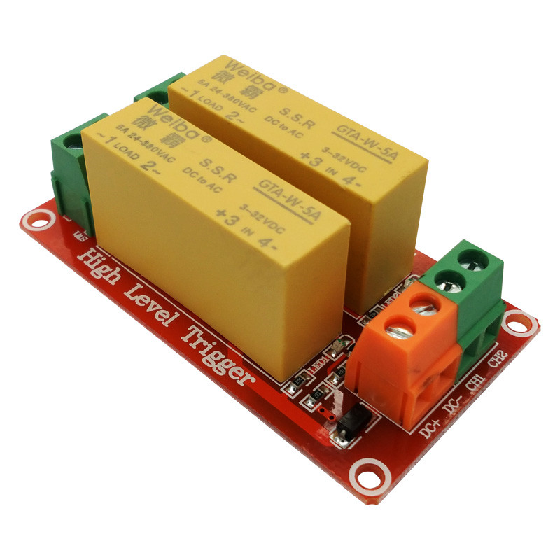 2 channel solid state relay module 5V 12V 24V high level trigger DC control AC load 5A for PLC automation equipment control om zfv sc90 140605 industry industrial use automation plc module p v