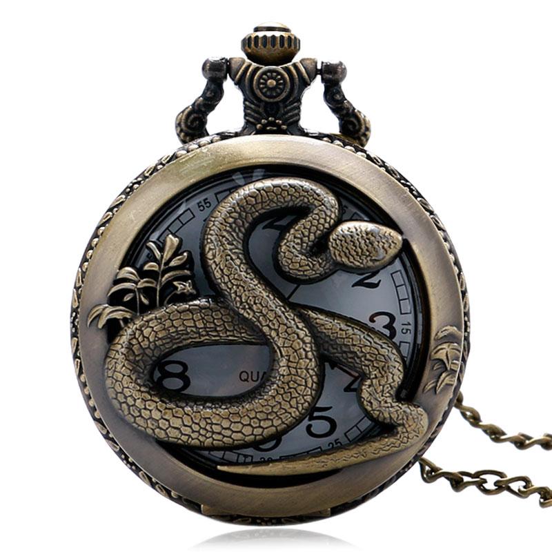 New Vintage Snake Hollow Round Quartz Pocket Watch Men Women Pendant With Necklace Chain Clock Accessory Retro Fob