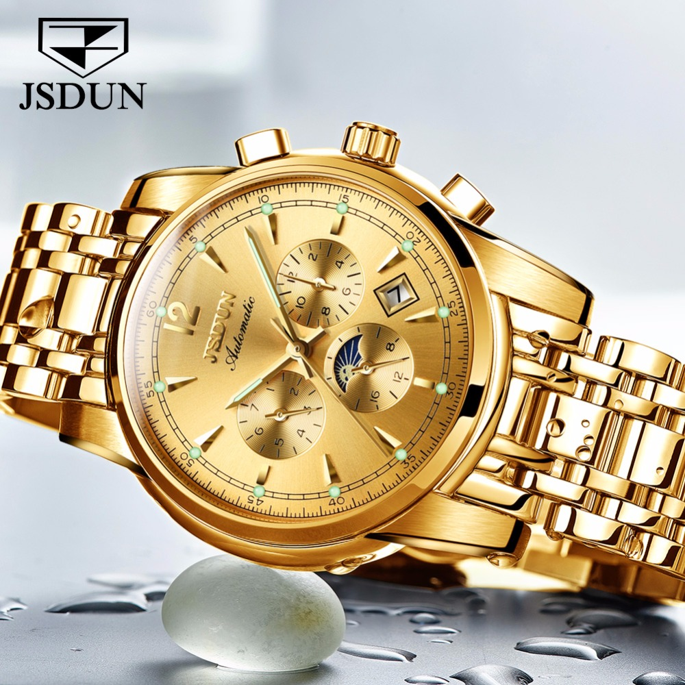 JSDUN Mechanical watches for men waterproof Mens Watches Top Brand Luxury Clock Automatic Sport Wrist watch