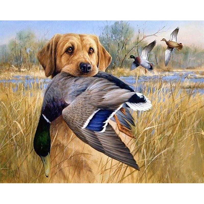 5d Diamond Embroidery Dog Hunt Duck Cross Stitch Diy Diamond Painting Diamond Mosaic Rhinestones Home Decor Love Gift Relieving Rheumatism