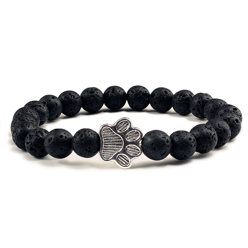 Men Natural Volcanic Stone Bracelet Sliver Cat Paw Black Lava Turquoises Beaded Bracelets Bangles Women Yoga Fashion Jewelry 1