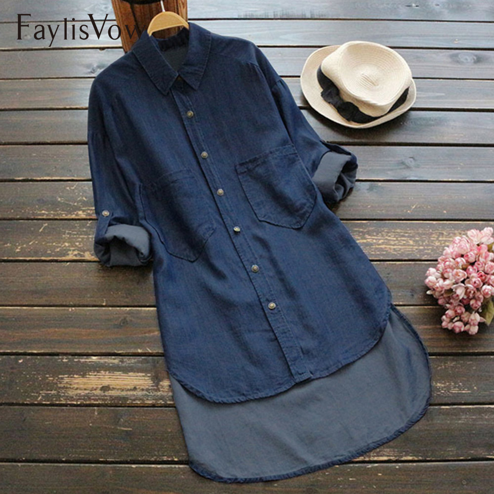 Women Loose Casual Long Sleeve Denim   Shirt   Autumn Vintage Solid Blue Ladies   Blouses   Turn-down Collar   Blouse   Jean Plus Size 5XL