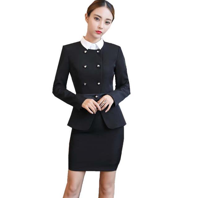 8850ef7e660d placeholder Fmasuth Ladies Winter Business Skirt Suit Buttons Blazer Jacket+OL  Skirt 2 Pieces Female Office