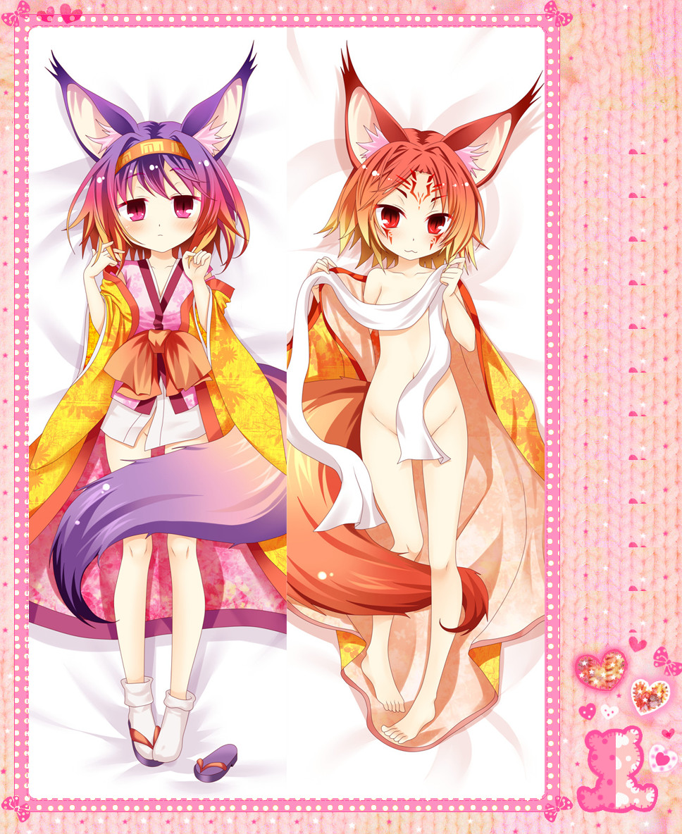 Anime Cartoon No Game No Life Double-Sided Bolster Hugging Pillow Case Pillow Cover Pillowcase Peach Skin 2 Way No.9128