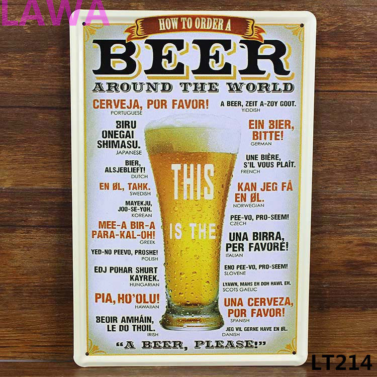 Freeshipping 1pc Beer Tinplate commercial vintage tin Sign BarPub Home Wall Decoration Retro Metal Art Poster wholesale