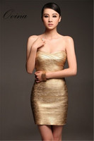 Sexy Strapless Sleeveless Mini Gold Stamping Bandage Dress Prom Party Dress Women Dress